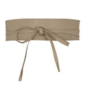Obi Textured Leather Cinch Waist Wrap Belt